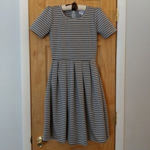 LuLaRoe Amelia black and gray striped dress, XS